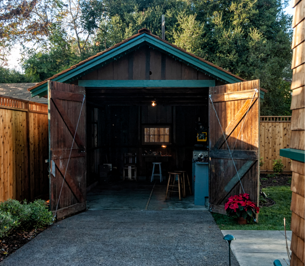 The garage of the house where Bill Hewlett and David Packard first lived and worked when starting the Hewlett-Packard company.